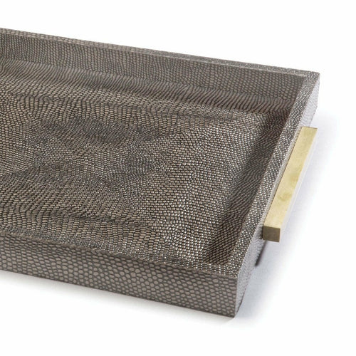 Regina Andrew Square Shagreen Boutique Tray, Vintage Brown Snake
