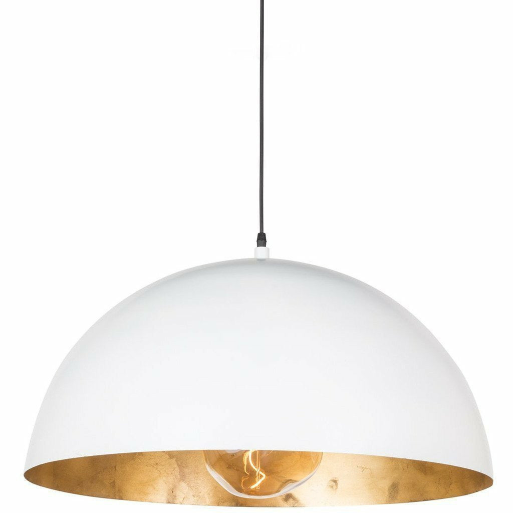 Regina Andrew Sigmund Pendant, Large, White and Gold-Pendant Lamps-Regina Andrew-Heaven