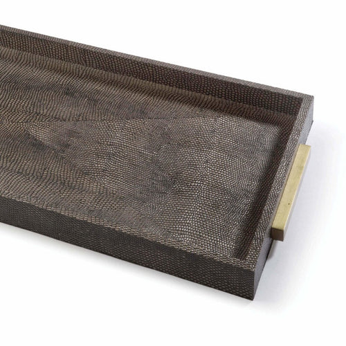 Regina Andrew Rectangle Shagreen Boutique Tray, Vintage Brown Snake