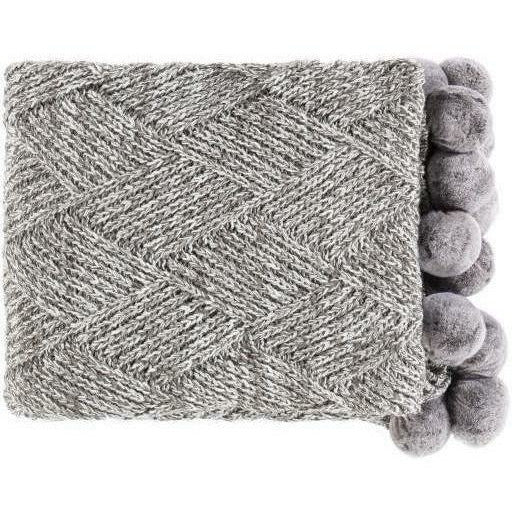 "Surya Odella ODL-1000 Acrylic Hand Knitted Throw-Throws-Surya-Charcoal-50"" x 60"" Throw-Heaven"