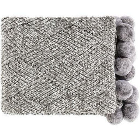 Surya Odella ODL-1000 Acrylic Hand Knitted Throw-Throws-Surya-Charcoal-50