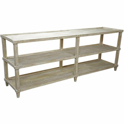"CFC Lilia Reclaimed Lumber Console Table, Gray Wash, 84"" L (Large)-Console Tables-CFC-Heaven's Gate Home, LLC"