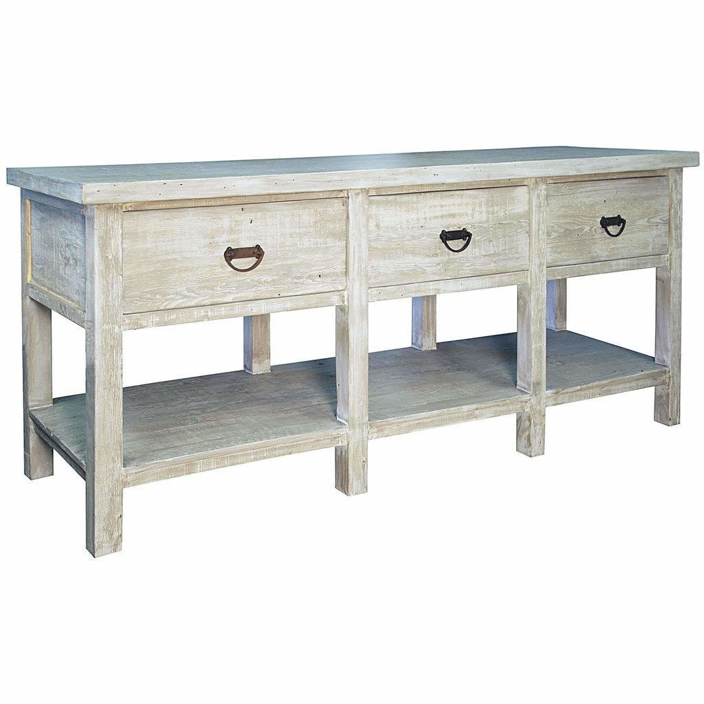 CFC 3-Drawer Reclaimed Lumber Console Table, Gray Wash *Quick Ship*-Console Tables-CFC-Heaven