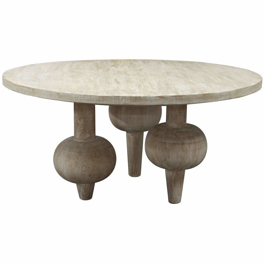 "CFC Julie Reclaimed Lumber Dining Table, Gray Wash, 60"" Round *Quick Ship*-Dining Tables-CFC-Heaven"