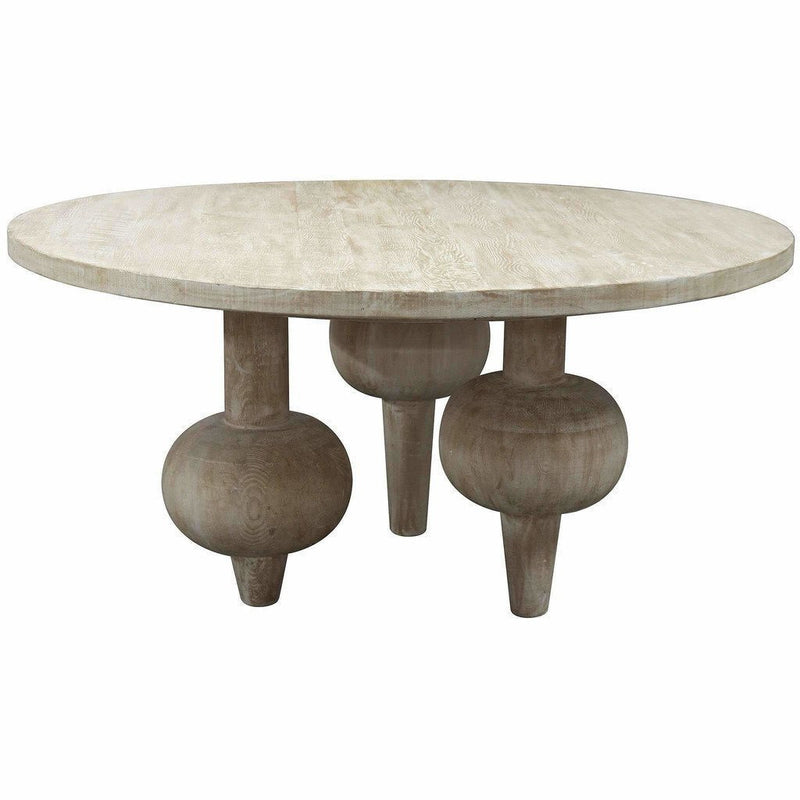 "CFC Julie Reclaimed Lumber Dining Table, Gray Wash, 60"" Round *Quick Ship*-Dining Tables-CFC-Heaven's Gate Home"