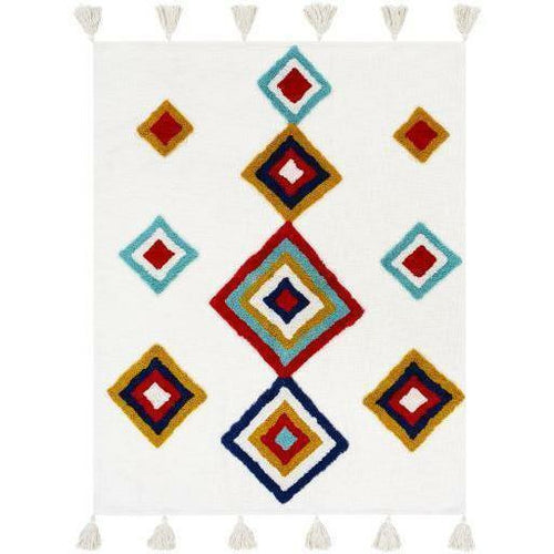 "Surya Paki PKI-1000 Woven 100% Cotton Throw-Throws-Surya-Cream-50"" x 60"" Throw-Heaven's Gate Home"