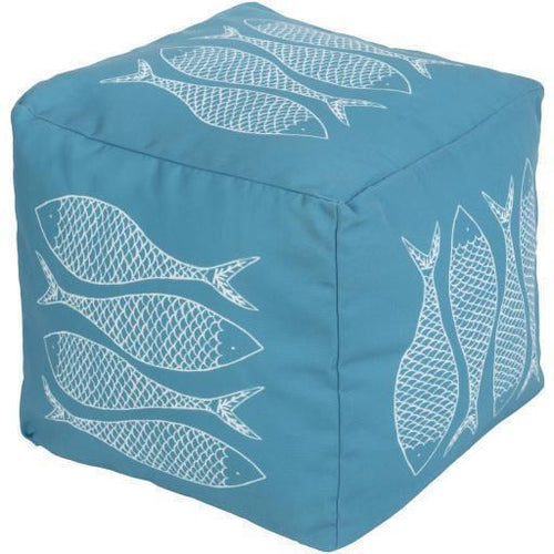 "Surya Rain POUF 275-280 Polyester Pouf, Indoor/Outdoor-Poufs-Surya-18"" x 18"" x 18"" Pouf-Teal-Heaven's Gate Home, LLC"