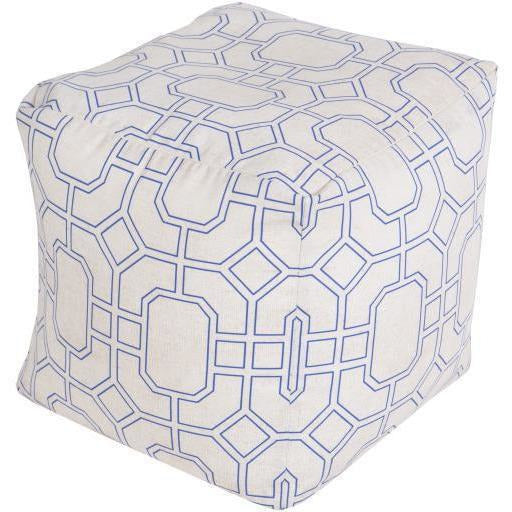 "Surya Rain POUF-286 Polyester Woven Pouf, Indoor/Outdoor-Poufs-Surya-18"" x 18"" x 18"" Pouf-Ivory-Heaven"