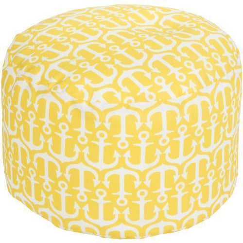 "Surya Rain POUF 303-308 Polyester Woven Pouf, Indoor/Outdoor-Poufs-Surya-20"" x 20"" x 13"" Pouf-Yellow-Heaven's Gate Home"