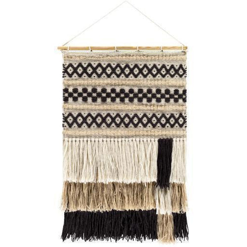 "Surya Saber SBE-1002 Hand-Woven Wall Hanging-Wall Hangings-Surya-32"" x 20""-Black-Heaven's Gate Home"
