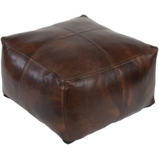 "Surya Sheffield SFPF-001 100% Leather Pouf-Poufs-Surya-Brown-22"" x 22"" x 13"" Pouf-Heaven"