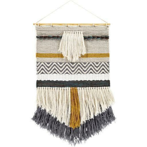"Surya Saiful SFU-1001 Hand-Woven Wall Hanging-Wall Hangings-Surya-32"" x 20""-Charcoal-Heaven's Gate Home"