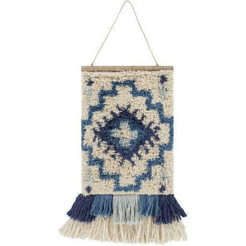 "Surya Santiago SGO-1001 Hand-Knotted Wall Hanging-Wall Hangings-Surya-23"" x 17""-Blue-Heaven's Gate Home"