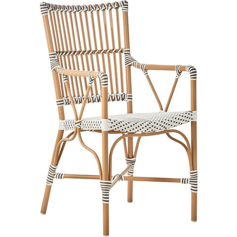 Sika Design Alu Affaire Monique Dining Arm Chair, Outdoor-Dining Chairs-Sika Design-White / Cappuccino Dots-Heaven's Gate Home