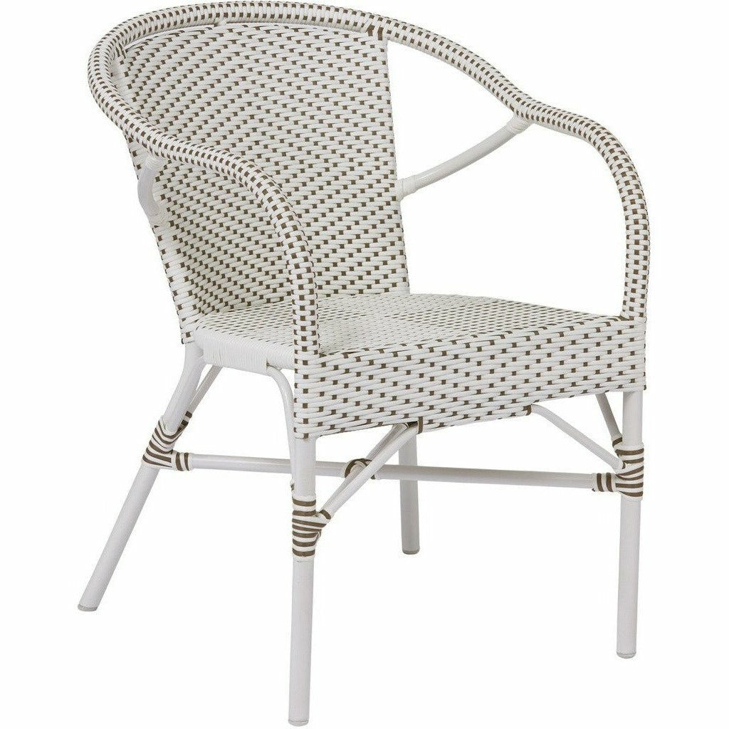 Sika Design Alu Affaire Madeleine Dining Arm Chair, Outdoor-Dining Chairs-Sika Design-White / Cappuccino Dots-Heaven