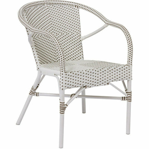 Sika Design Alu Affaire Madeleine Dining Arm Chair, Outdoor-Dining Chairs-Sika Design-White / Cappuccino Dots-Heaven's Gate Home