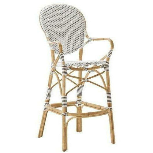 Sika-Design Affaire Isabell Rattan Bar Stool, Indoor/Covered Outdoor-Bar Stools-Sika Design-White / Cappuccino Dots-Heaven's Gate Home