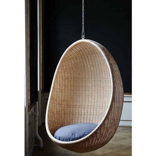 Sika-Design Icons Egg Nanny Ditzel Hanging Chair w/ Cushion, Indoor, Natural or Black-Hanging Chairs-Sika Design-Natural Chair w/ Sunbrella Sailcloth Shade Cushion with 5 Foot Chain-Heaven's Gate Home