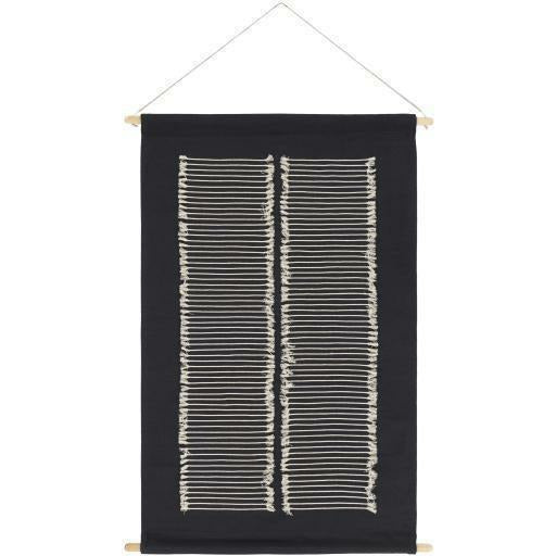 "Surya Savion SVI-1001 Woven Wall Hanging-Wall Hangings-Surya-24"" x 36""-Black-Heaven's Gate Home"