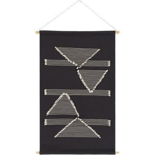 "Surya Savion SVI-1002 Woven Wall Hanging-Wall Hangings-Surya-24"" x 36""-Black-Heaven's Gate Home"