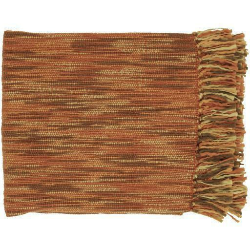 "Surya Teegan Woven Acrylic Fringed Throw-Throws-Surya-Brown-55"" x 78"" Throw-Heaven"