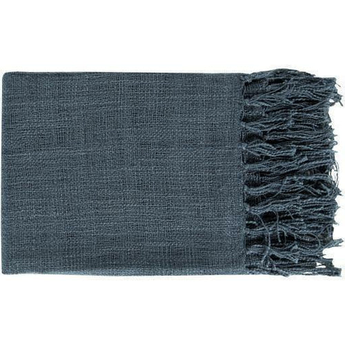 "Surya Tilda Acrylic Woven Fringed Throw-Throws-Surya-Navy-59"" x 51"" Throw-Heaven's Gate Home"