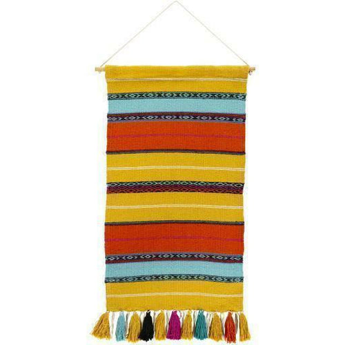 "Surya Toluca TOU-1003 Hand-Woven Wall Hanging-Wall Hangings-Surya-36"" x 18""-Yellow-Heaven's Gate Home"