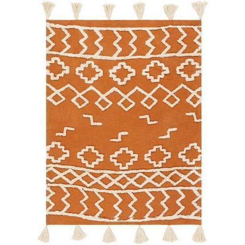 "Surya Tut TUT-1000 Woven 100% Cotton Throw-Throws-Surya-Orange-50"" x 60"" Throw-Heaven's Gate Home"