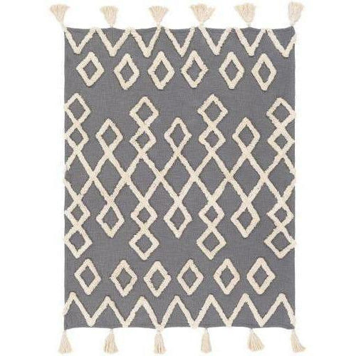 "Surya Tut TUT-1001 Woven 100% Cotton Throw-Throws-Surya-Gray-50"" x 60"" Throw-Heaven's Gate Home"