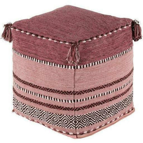 "Surya Trenza Hand Woven 100% Cotton Pouf with Tassels-Poufs-Surya-Pink-18"" x 18"" x 18"" Pouf-Heaven's Gate Home"