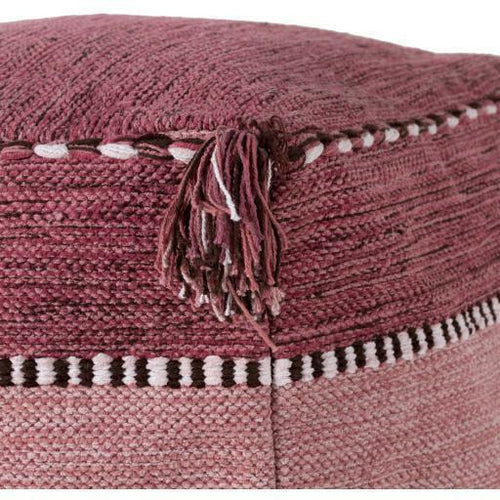Surya Trenza Hand Woven 100% Cotton Pouf with Tassels-Poufs-Surya-Heaven's Gate Home, LLC
