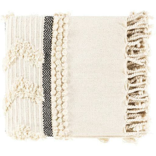 "Surya Vasant VSA-1000 Hand Woven Cotton Throw-Throws-Surya-Ivory-50"" x 60"" Throw-Heaven's Gate Home"