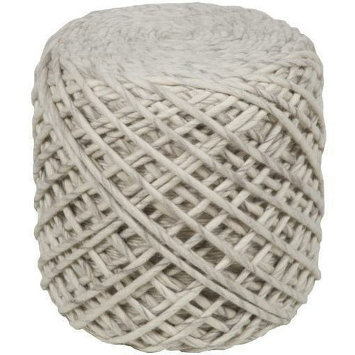 "Surya Yukon YKN-001 Hand Crafted 100% Wool Pouf-Poufs-Surya-Cream-16"" x 16"" x 18"" Pouf-Heaven's Gate Home"