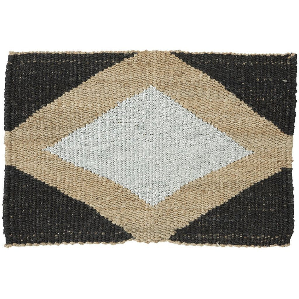 "Langdon LTD Gem Black/Silver Jute Doormat, Metallic Thread-Doormats-Langdon, LTD-20"" x 30""-Black-Heaven"