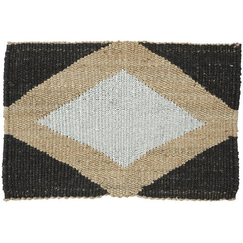 Langdon LTD Gem Black/Silver Jute Doormat, Metallic Thread