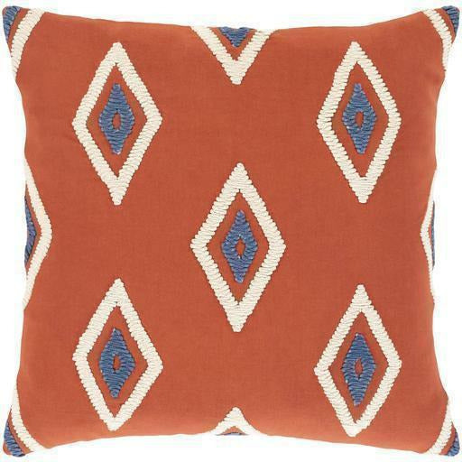 "Surya Zulu ZLU-001 Cotton Global Pillow-Pillows-Surya-Brick-18"" x 18"" Pillow-Heaven"