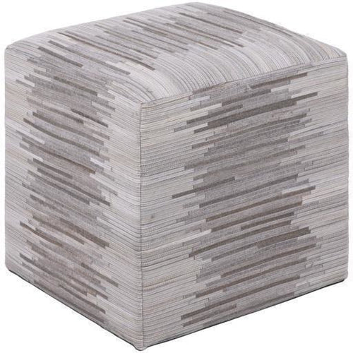 "Surya Zander Leather Knife Edge Pouf-Poufs-Surya-Cream-18"" x 18"" x 18"" Pouf-Heaven's Gate Home"