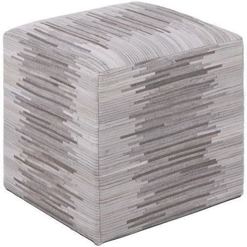 Surya Zander Leather Knife Edge Pouf-Poufs-Surya-Cream-18