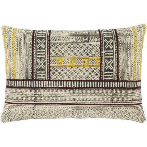 "Surya Zoya ZYA-002 Cotton Global Pillow-Pillows-Surya-Beige-16"" x 24"" Pillow-Heaven's Gate Home"