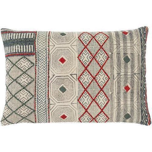 "Surya Zoya ZYA-003 Cotton Global Pillow-Pillows-Surya-Beige-16"" x 24"" Pillow-Heaven's Gate Home"
