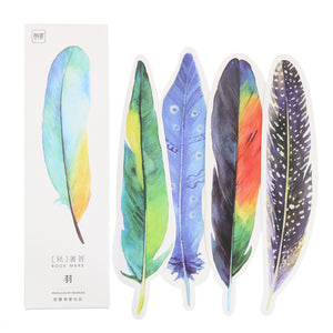 30pcs/Pack Cute Creative Colorful Feather Paper Bookmark Stationery Bookmarks Book Clip Office Accessories School Supplies