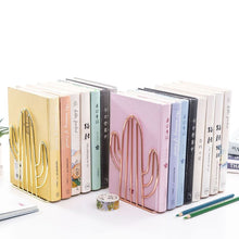 Load image into Gallery viewer, 2PCS/Pair Creative Cactus Shaped Metal Bookends Book Support Stand Desk Organizer Storage Holder Shelf