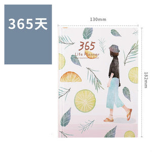 A6 Cute Girl Coloring Notebook Portable Illustration Weekly Planner 2020 Notepad Creative Travelers Journal Diary Notebook