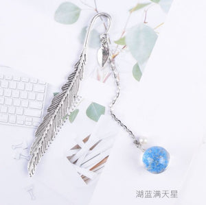 Creative Flower specimens Bookmark Pendant Metal Book mark Stationery School Office Supply Escolar Papelaria