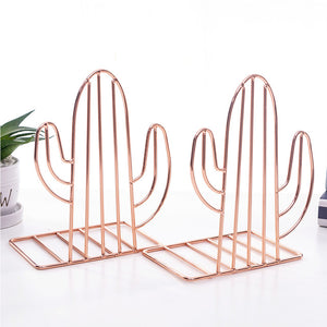 2pcs Holder Support Bookends Nordic Style Book Shelf Decorative Study Cactus Shaped Stand Storage Non-Skid Desk Organizer Office