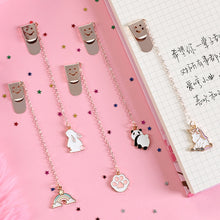 Load image into Gallery viewer, Cartoon Panda Dog Unicorn Rainbow Cat Paw Metal Pendant Bookmark Cute Book marks for book Paper Clip School Office Supplies