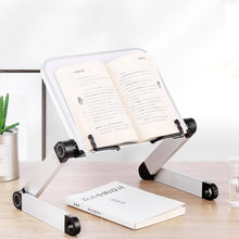 Load image into Gallery viewer, Creative Aluminium Alloy Metal 360 Degree Adjustable Book Reading Shelf Stand Books Reading Bookshelf Laptop Holder Stationery