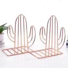 Load image into Gallery viewer, 2pcs Desk Organizer Holder Decorative Stand Storage Support Book Shelf Home Bookends Office Study Nordic Style Cactus Shaped
