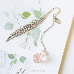 EZONE Crystal Pendant Bookmark Metal Leaves Chinese Style Bookmark Dried Flower Pendant Bookmark Lucky Gift Students Stationery
