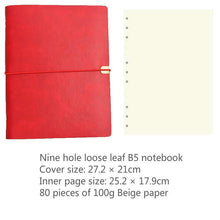 Load image into Gallery viewer, Soft Leather Notebook  B5 Notepad Creative Diary Multi-function Storage 9 Hole Loose Leaf  Simple Bandage Planner Notepad